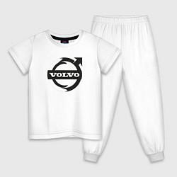 Пижама хлопковая детская VOLVO цвета белый — фото 1