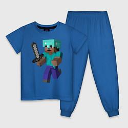Пижама хлопковая детская Майнкрафт цвета синий — фото 1