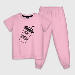 Пижама хлопковая детская Слезы врагов в стакане цвета светло-розовый — фото 1