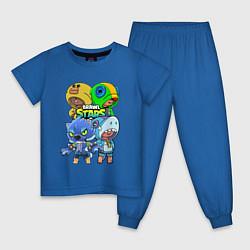 Пижама хлопковая детская Brawl Stars Leon Quattro цвета синий — фото 1