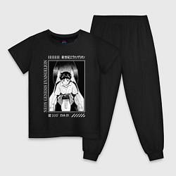 Пижама хлопковая детская Синдзи Икари, Евангелион цвета черный — фото 1