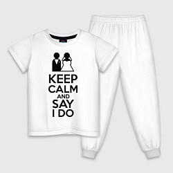 Пижама хлопковая детская Keep Calm & Say I Do цвета белый — фото 1