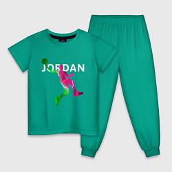 Пижама хлопковая детская MICHAEL JORDAN Z цвета зеленый — фото 1