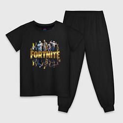 Пижама хлопковая детская Fortnite Chapter 2 цвета черный — фото 1