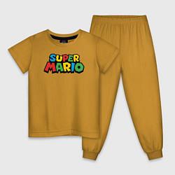 Пижама хлопковая детская Super mario цвета горчичный — фото 1