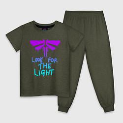Пижама хлопковая детская ЦИКАДЫ LOOK FOR THE LIGHT цвета меланж-хаки — фото 1