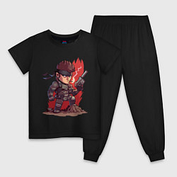 Пижама хлопковая детская Solid Snake цвета черный — фото 1