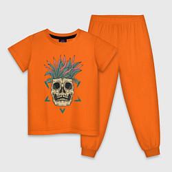 Пижама хлопковая детская Череп Моргенштерна цвета оранжевый — фото 1