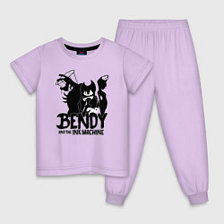 Пижама хлопковая детская Bendy And The Ink Machine цвета лаванда — фото 1