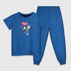 Пижама хлопковая детская Люблю тебя цвета синий — фото 1