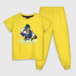 Пижама хлопковая детская Genshin impact Кэйа цвета желтый — фото 1