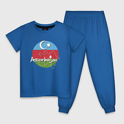 Пижама хлопковая детская Азербайджан цвета синий — фото 1