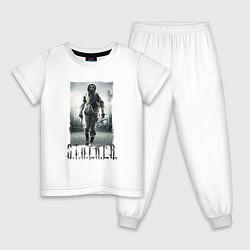 Пижама хлопковая детская Stalker цвета белый — фото 1