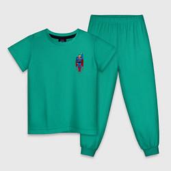 Пижама хлопковая детская Superman 8 bit цвета зеленый — фото 1
