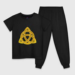 Пижама хлопковая детская Узор цвета черный — фото 1