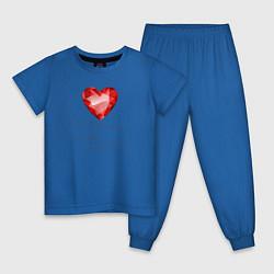 Пижама хлопковая детская Сердце Любовь цвета синий — фото 1