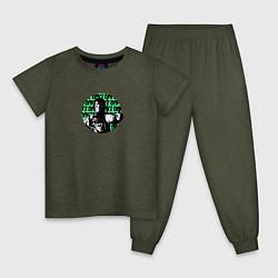 Пижама хлопковая детская DayZ цвета меланж-хаки — фото 1