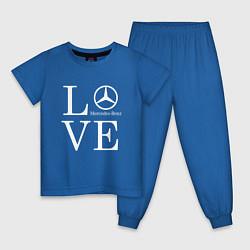 Пижама хлопковая детская LOVE MERCEDES BENZ цвета синий — фото 1