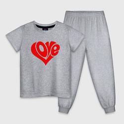 Пижама хлопковая детская ЛЮБОВЬ LOVE Z цвета меланж — фото 1