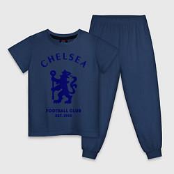 Пижама хлопковая детская Chelsea Est. 1905 цвета тёмно-синий — фото 1