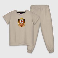 Пижама хлопковая детская Нино800 цвета миндальный — фото 1