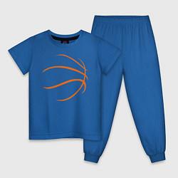 Пижама хлопковая детская Баскетбольный мяч цвета синий — фото 1