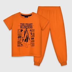 Пижама хлопковая детская The Peaky Blinders Shelby цвета оранжевый — фото 1