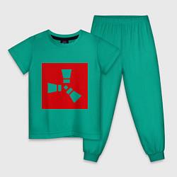 Пижама хлопковая детская Rust цвета зеленый — фото 1