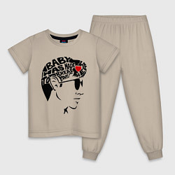 Пижама хлопковая детская Arctic Monkeys Love цвета миндальный — фото 1