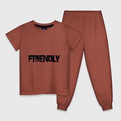 Пижама хлопковая детская DayZ: Im friendly цвета кирпичный — фото 1