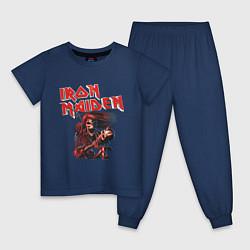 Пижама хлопковая детская Iron Maiden цвета тёмно-синий — фото 1