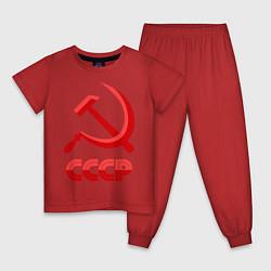 Пижама хлопковая детская СССР Логотип цвета красный — фото 1