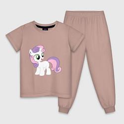 Пижама хлопковая детская Пони Крошка Бель цвета пыльно-розовый — фото 1