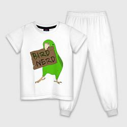 Пижама хлопковая детская Bird Nerd цвета белый — фото 1