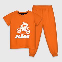 Пижама хлопковая детская KTM белый цвета оранжевый — фото 1