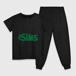 Пижама хлопковая детская Sims цвета черный — фото 1