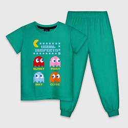 Пижама хлопковая детская Pac-Man: Usual Suspects цвета зеленый — фото 1