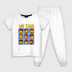 Пижама хлопковая детская Wu-Tang Clan Faces цвета белый — фото 1