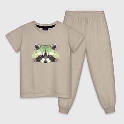 Пижама хлопковая детская Мордочка енота цвета миндальный — фото 1