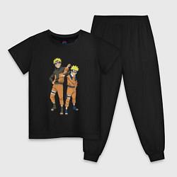 Пижама хлопковая детская Наруто цвета черный — фото 1