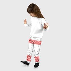 Брюки детские Славянский орнамент (на белом) цвета 3D — фото 2