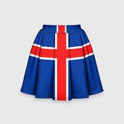 Юбка-солнце для девочки Флаг Исландии цвета 3D-принт — фото 1
