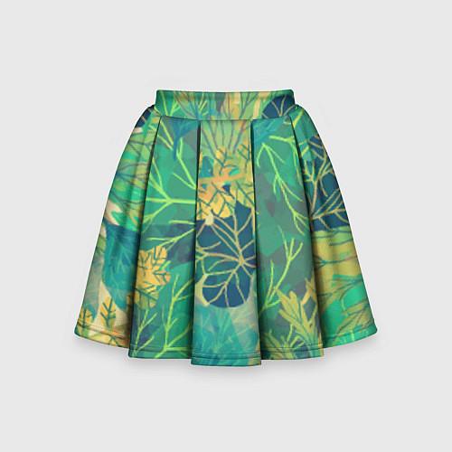Детская юбка-солнце Узор из листьев / 3D – фото 1