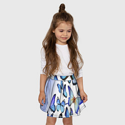 Юбка клеш для девочки с принтом Голубые бабочки, цвет: 3D, артикул: 10083643105607 — фото 2