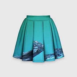 Юбка-солнце для девочки Зеленая вода цвета 3D — фото 1