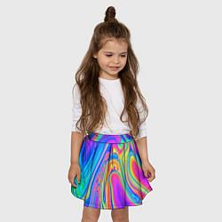 Юбка-солнце для девочки Цветные разводы цвета 3D — фото 2