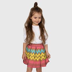 Юбка-солнце для девочки Цветные зигзаги цвета 3D — фото 2