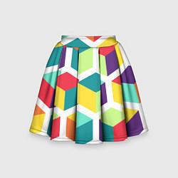 Юбка-солнце для девочки 3D кубы цвета 3D — фото 1
