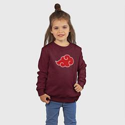 Свитшот хлопковый детский СЕМПАЙ - SENPAI цвета меланж-бордовый — фото 2