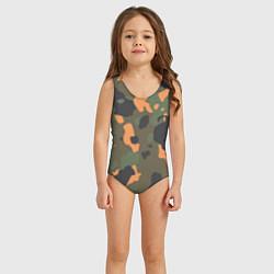 Купальник для девочки Камуфляж: хаки/оранжевый цвета 3D — фото 2